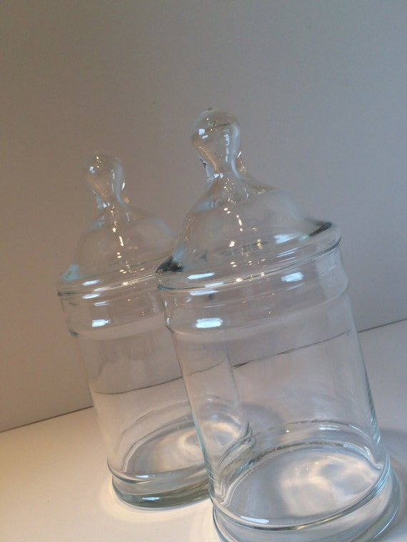 Clear glass apothecary jars storage containers by for Clear bathroom containers