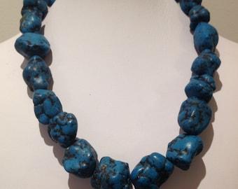 Necklace. 46cm. Features Large Imitatation Turquoise Nugget Gemstone beads. Bright blue.