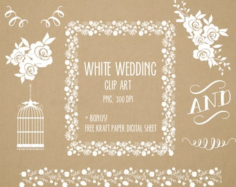 White Wedding Floral clipart, Digital Floral Frame, Flowers, cage, border