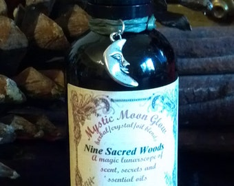 Nine Sacred Woods Oil, Nine Sacred Woods Oil Infusion with Essential Oils, Herbs, Beltane, Yule, Blessings, Anointing, Candles, Scented Oils