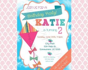 Printable Kite Birthday Invitation. Girl's Kite Invitation.  Girl's Birthday Invitation.  Kite Birthday.  Printable Invitations. PDF.