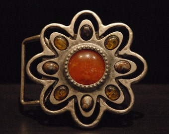 Belt Buckle - For Snap Leather Belt -  sterling silver plated and amber