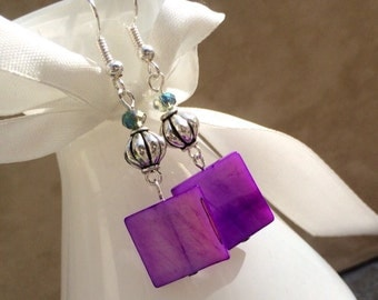 Purple Square Mother of Pearl and Pewter Dangle Earrings - MLB41