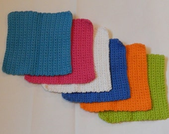 Set of  6 - Crochet Dishcloth - Handmade Cotton Washcloth
