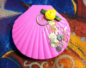 Pink Steampunk Shell Contact Travel Case with Yellow Rose