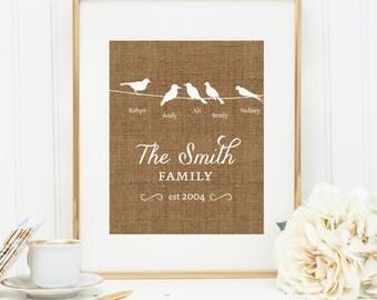 Personalized Printable wall art decor: Bird Silhouette Family printable {Names and est. date} Burlap design (Custom digital download - JPG)