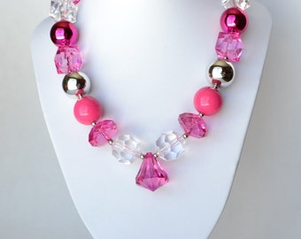Pink & Clear CHUNKY necklace with acrylic beads, tiger tail stringing, and metal toggle clasp