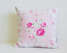 Shabby Chic Pillow Cover, Quilted Cushion Cover, Quilted Pillow, Slipper Rose by Tanya Whelan, Fits 16 inch Pillow, 16 x 16 _MADE TO ORDER
