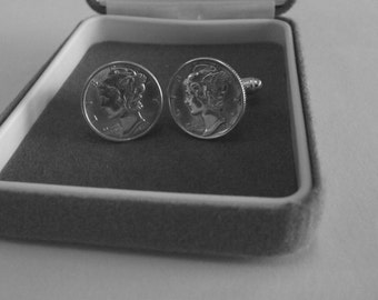06sp  1943 Mercury Dimes on Sterling Silver Cufflink Backs