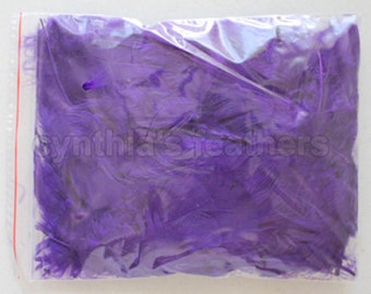 """10g (0.35Oz) purple 3~4"""" turkey plumage feathers 80~120 counts, for crafting, sewing, etc, SKU: 7G21"""