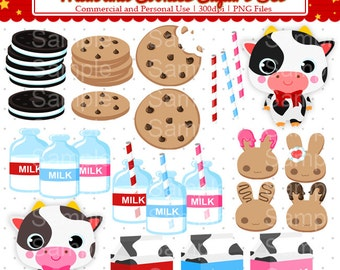 Milk and Cookies Clipart Set - For Commercial and Personal Use Cliparts
