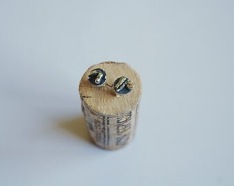 "Oxidized silver stud earrings, silver jewelry - ""In the middle of somewhere"""
