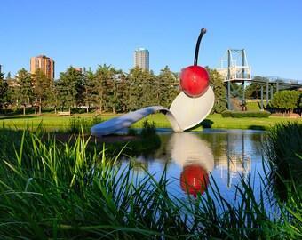 Spoonbridge and Cherry, Minneapolis Sculpture Garden, Walker Art Center, Minneapolis, Minnesota, Red - Travel Photography, Print, Wall Art