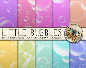 Little Bubbles Paper, Digital Paper Pack, Bubbles in 12 Rainbow Colors, Pool Party Paper