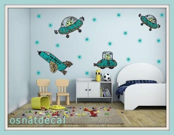 FREE SHIPPING 4 Turquoise  Spaceships Wall Decal & 20 Stars . Home Decor. Diy. Nursery. Art. stars Children Room.