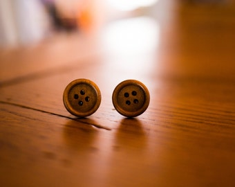 Classic Small Wood Post Sewing Button Earrings, Stud Earrings, Natural Wooden Brown Earrings, Small Post Earrings, Petite Stud Earrings