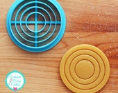 """Concentric Circles Imprint Cookie Cutter for 1/4"""" or 3/8"""" Thick Dough"""