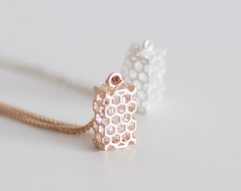 Beehive Necklace - Gold - Silver - Crystal Bead Inside - Honey Bee-  Honeycomb -  Beekeeper - Origami - Geometric Necklace - Mother's Day