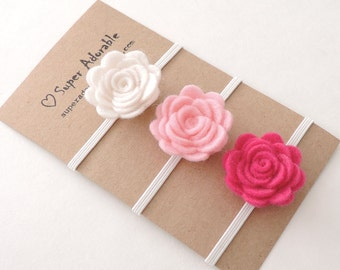 Felt Flower Headband -  Pick 3 Colors - Felt Baby Headband, Newborn Headband, Baby Girl Headband, Flower Headband
