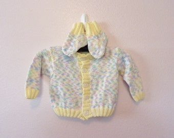 Rainbow Baby Cardigan and Booties size 18 to 24 month