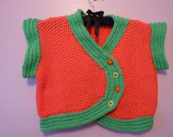 Neon Coral and Green Vest size 10 to 12 yr.
