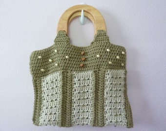 Taupe and Cream Beaded Purse with Wooden Handles