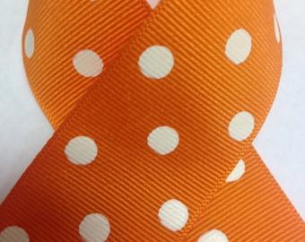 TORRID ORANGE GROSGRAIN Polka Dots Ribbon - Select Width & Length of Spool