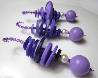 3 Buttons and Beads Dangly Purple Christmas Ornaments with glass pearls