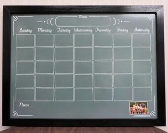 green chalkboard style whiteboard calendar framed dry erase wall calendar personalized dry erase calendar board