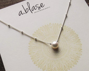 Solitaire Pearl and Sterling Silver Satellite Chain Necklace