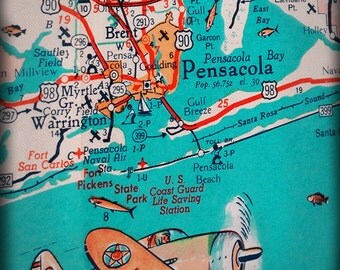 Florida Panhandle Pensacola Beach Retro Map Print Funky Vintage Turquoise Photo Warrington US Coast Guard