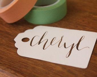 walnut calligraphy tags : custom // set of 10