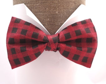 """Bow tie in red and black check print cotton, pre tied or self tie, will fit  neck size up to 20"""" (50cms)"""