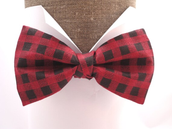"Bow tie in red and black check print cotton, pre tied or self tie, will fit  neck size up to 20"" (50cms)"