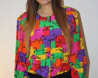 colorful silk blouse