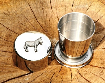 Donkey Collapsable Folding Metal Stirrup Shot Cup Gift