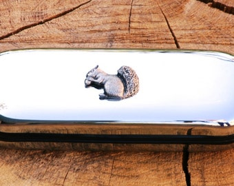 Squirrel Metal Pen Case & Ball Point Set Personalised Engraved Gift
