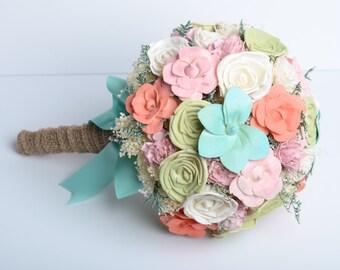Mint & Coral Sola Flower Bridal Bouquet, Shabby Chic bouquet, Romantic bouquet, Alternative bouquet, Sola flower bouquet, keep sake bouquet