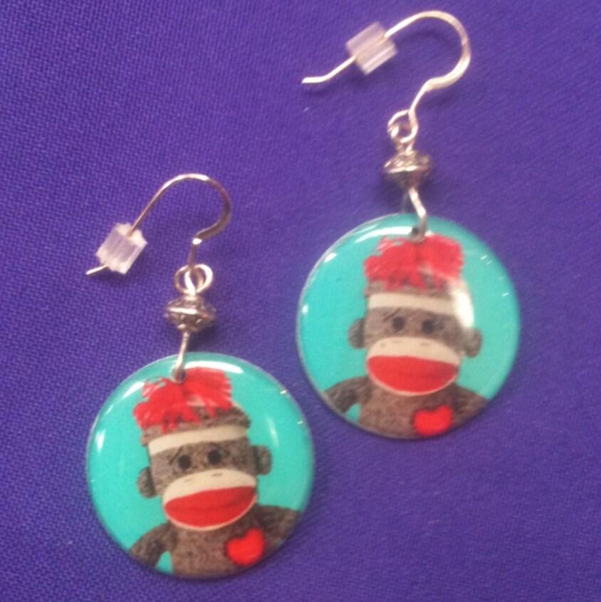 sock monkey earrings on sterling silver by annpedenjewelry