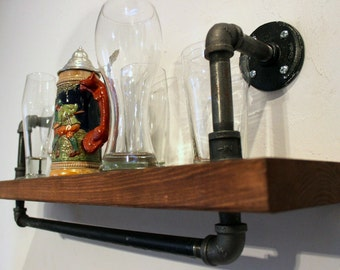 Wall Shelf, Industrial Pipe Shelf, Wood Shelf