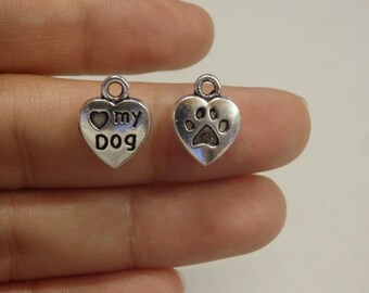 10 love my dog paw tibetan silver antique silver