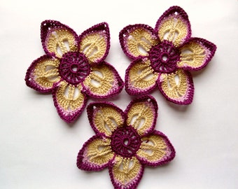 thread Crochet Flower Applique Large in purple beige color  3.5 inches