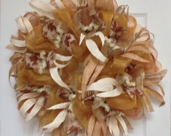 Beautiful Ivory and Gold Floral Wreath Handmade Deco Mesh
