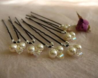 Swarovski Hairpins, bridal hairpins, prom hairpins, Set of 6
