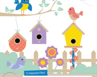 Cute Birds Clipart & Birdhouse Clipart for Digital Scrapbooking, Crafting, Invitations, Web Design and More - Birdie Clipart by Amanda Ilkov