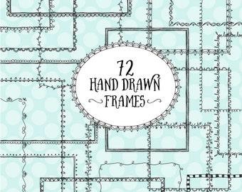 Premium Set of 72 Digital Black Lace Frames, Scrapbook Frames - Black Lace Square Frames, Rectangle Frames, Hand Drawn Frames, Doodle Frames