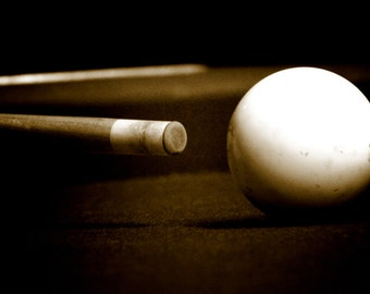 Sepia Pool Table Photograph, Sepia Photography, Wall Art Print, Still Life Photography, Dark Photo, White Ball