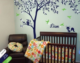 Creative Nursery Tree Wall Decal Baby Room Decor with Baby Name, Birds, Blossoms and cute Squirrels - 035