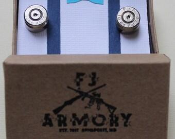 10mm Auto Bullet Cufflinks Silver (Nickel Plated)