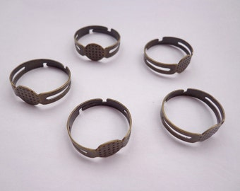 SALE--50pcs-Antique Bronze Ring Adjustable with 8mm Round Pad